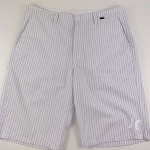 Hurley Striped Cotton Blend Bermuda Gray Shorts 34